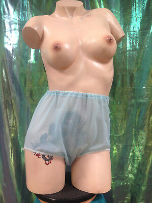 A34 Vintage 1960s Pale See Through Baby Blue Nylon Full Cut Panties New