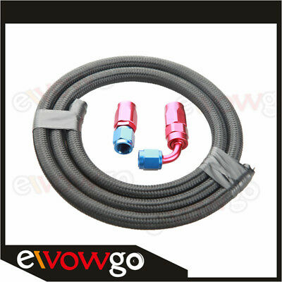 AN10 Nylon Cover Braided Oil Fuel Gas Line Hose 1M + Swivel Hose End Fitting