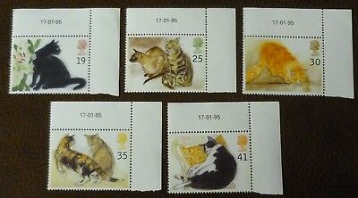 GB 1995 set of 5 Cats dated in margins 17-01-95  superb Mint never hinged cond.