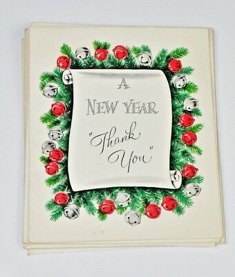 3 Early 1950's Vintage Card Thank you & Happy New Year Greeting Card Art Guild