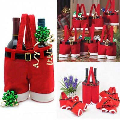 Christmas Red Wine Bottle Cover Bags Santa Claus Table Party Xmas Decorations