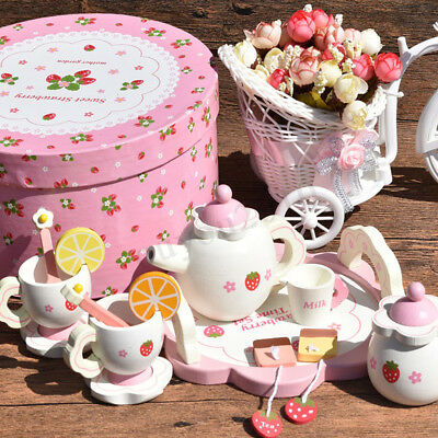 Children Kids Wooden Tea Set Box Pretend Tea Party Role Play Christmas Toy Gift