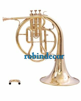 French Horn Antique Solid Brass Horn Mellophones Replica  Brass Polish With Box