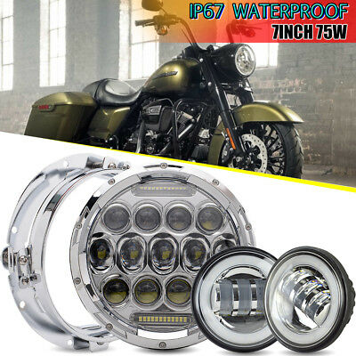 "7"" LED Sealed Cree Headlight &4.5"" Wh Passing Light Lamps For Harley Motorcycles"