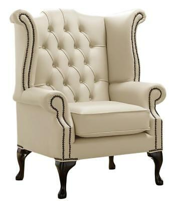 Chesterfield Armchair Queen Anne High Back Wing Chair Shelly Panna Cream Leather
