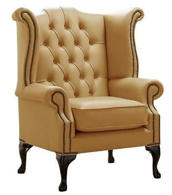 Chesterfield Armchair Queen Anne High Back Wing Chair Shelly Parchment Leather