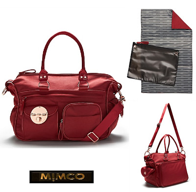 MIMCO LUCID BABY BAG NAPPY MARS RED & ROSE GOLD GYM WEEKENDER  rrp299 now $197
