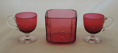 2 Antique Ruby Cranberry Glass Custard Cups + Flashed Ruby Glass Nut Candy Bowl