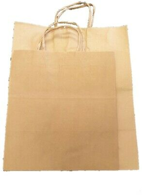 50 x Recycled Kraft Brown Paper Food Takeaway Party Bags Strong Twisted Handle