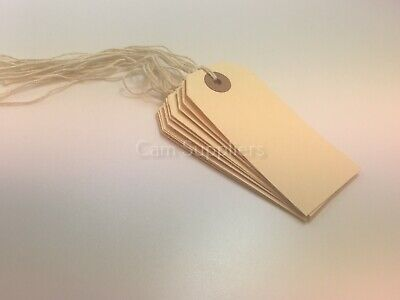 Cream Manilla Strung Tags Luggage Labels Tag Tickets Tie On Labels (7 Sizes)