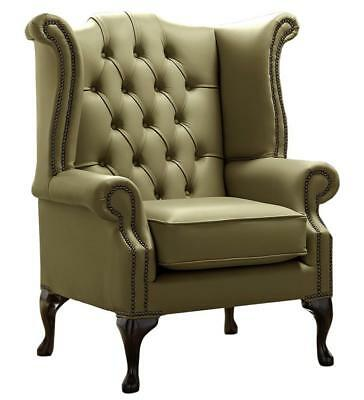 Chesterfield Armchair Queen Anne High Back Wing Chair Shelly Sage Green Leather