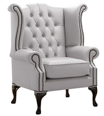 Chesterfield Armchair Queen Anne High Back Wing Chair Shelly Seely White Leather
