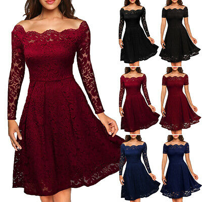 Women Lace Short Dress Cocktail Party Evening Formal Ball Prom Mini Dresses AU