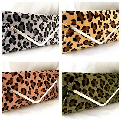 New  Faux Suede Leopard Animal Print Evening Day Green Nude Tan Grey Clutch Bag