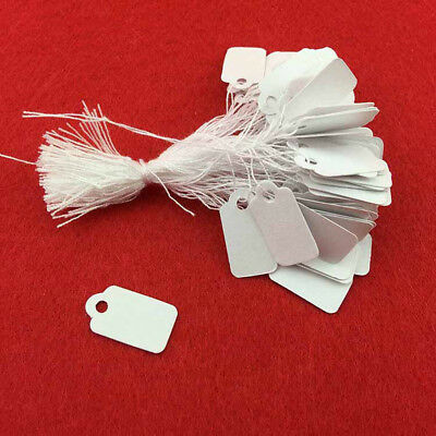 100X Paper Jewelry Tab Clothes Label Price Tag Swing With Elastic Tied String AU