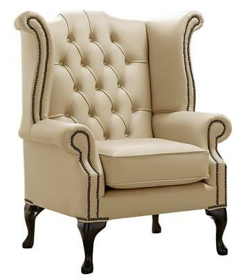 Chesterfield Armchair Queen Anne High Back Wing Chair Stone Leather