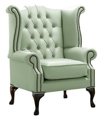 Chesterfield Armchair Queen Anne High Back Wing Chair Thyme Green