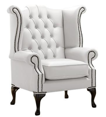 Chesterfield Armchair Queen Anne High Back Wing Chair Shelly White Leather