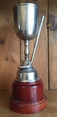 vintage large silver plate NOT ENGRAVED Golf trophy, loving cup, trophies