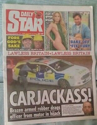 Star Newspaper Nov 1 2018 Lawless Britain Police Car Hijack Chelsea 3-2 Derby.