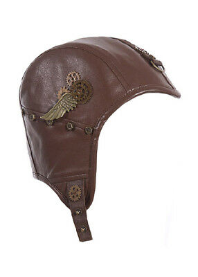 Helmet'aviator steampunk with gears wings and webbing/ straps rq - bl rq-bl