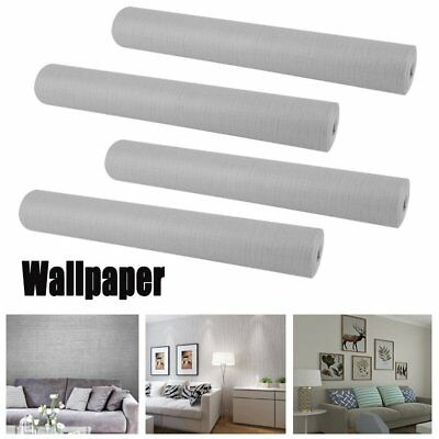 LOT1-20 Wallpaper Gray Modern Silver Plain Textured Wall Coverings 0.53mx10m SA
