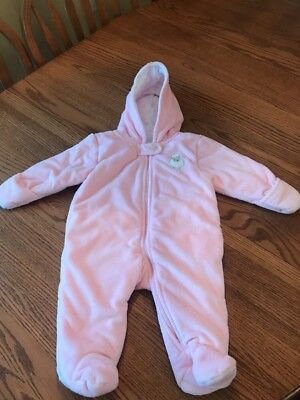 78c2cc009356 CARTERS BABY GIRL Pink Bear hooded Snowsuit Fleece soft Bunting Sz 0 ...