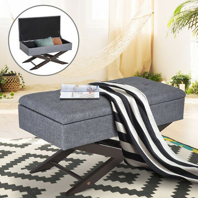 GREY TUFTED STORAGE Ottoman Bench Bedroom Seat Footrest ...