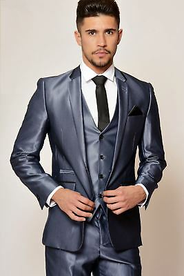 Mens Formal Blazer Tailored Tonic Shiny Work Office Business Jacket