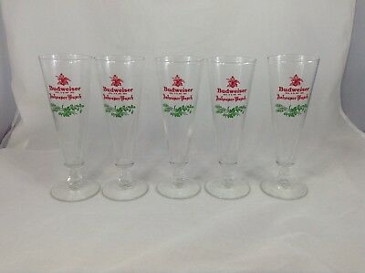 5 Holiday Christmas Budweiser Anheuser-Busch Holly Classic Pilsner Glasses