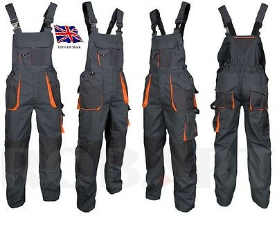 UK-New Bib and Brace Overalls Mens Work Trousers Pants Knee Pad Multi Pocket