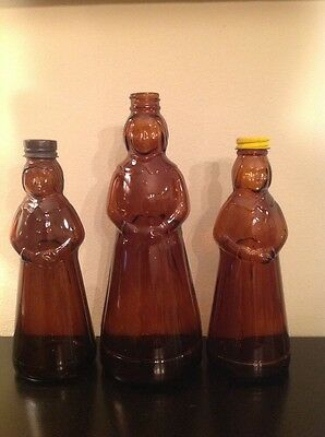 3 Vintage Mrs. Butterworth's Aunt Jemima Syrup Glass Bottles 2 with Metal Caps