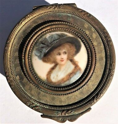 Antique French Bronze Hand Painted Porcelain Portrait Dresser Ring Jewelry Box