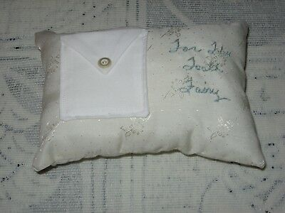 """Handmade Tooth Fairy Pillow, White With Pocket, 6.5"""" x 4.5"""""""