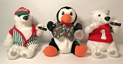 Vintage Coca Cola Polar Bear Penguin Plush Stuffed Animal Coke Collectible Lot
