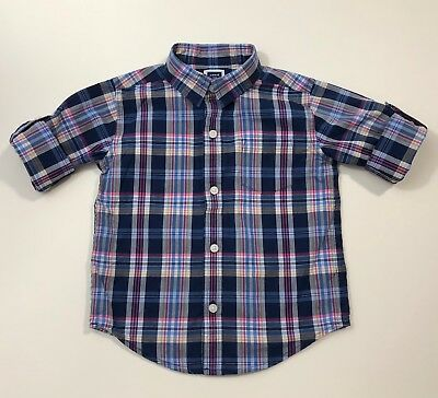JANIE AND JACK Match Prep Plaid Roll Up Sleeve Shirt Size 18-24 Months EUC
