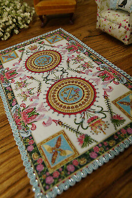 Stunning 1:12 Dollhouse Miniature Rug French Savonnerie Nice Lace Floral