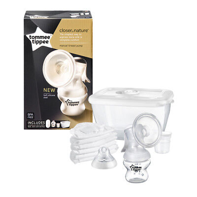 Tommee Tippee Closer To Nature Manual Breast Pump / Bottle / Breast Pads / Pot