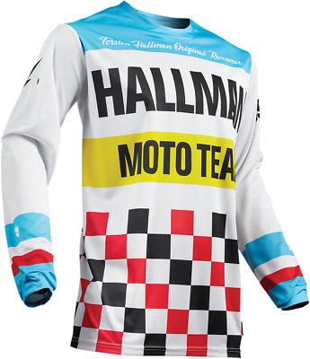 Thor Hallman Heater Off Road MX Jersey Men's White/Blue