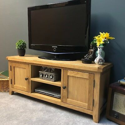 Large Oak TV Stand Wide Solid Wood Television Unit With Chunky Oak Top / Dorset