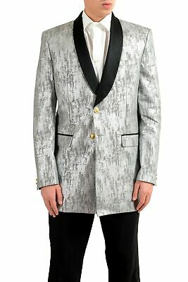 new products b7453 fcd35 VERSACE VERSUS UOMO Argento Smoking Blazer a Due Bottoni Sport Giacca Size  38 40