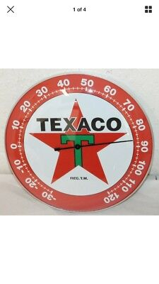 "Texaco Oil Gas Thermometer 12"" Round Glass Dome Sign Vintage Style"