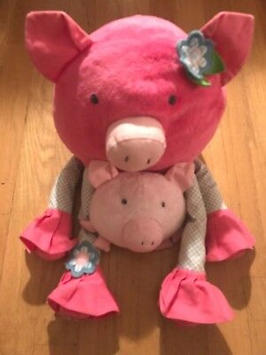 Pottery Barn Kids Bright Pink Long Legs Pig Plush With Small Pig