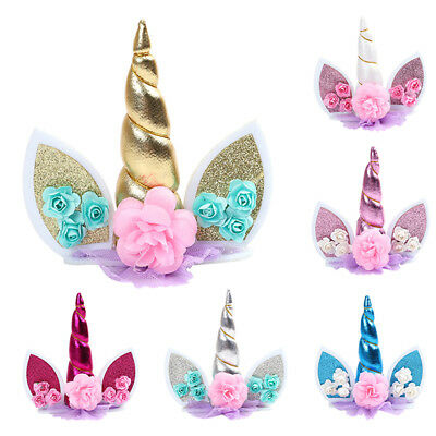 Unicorn Birthday Cake Decor Topper Cute Horn Ears Flower Party Ornament Prop ME