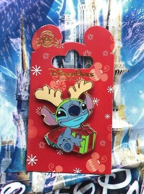 Disney Lilo & Stitch with Reindeer Antlers & Christmas Holiday Present Pin New