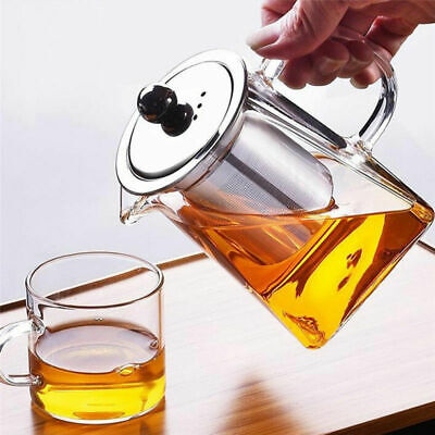 Heat Resistant Clear Glass Teapot With Infuser Filter Coffee Tea Leaf Herbal Pot
