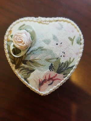 VTG Jewelry Trinket Heart Shaped Trinket Box Padded Floral Fabric Covered Lined