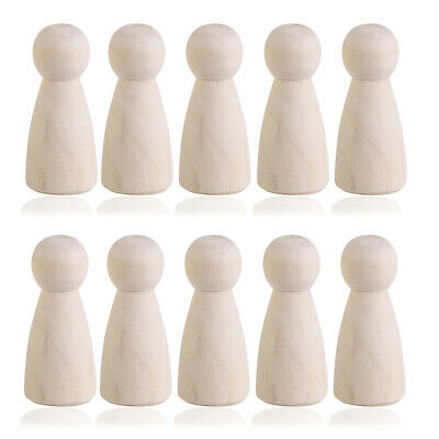 10PCS Unfinished Wooden Peg Doll Bodies People Dolls Home Decor Painting Crafts