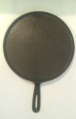 """Vintage Cast Iron Round Griddle 8 NG Made In The USA H 9.5"""" Unmarked"""