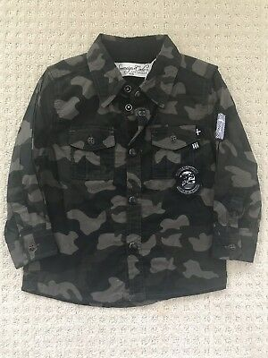 Sovereign Code Camo Toddler Boys Pearl Snap Button Up Shirt Size 18 months NWT